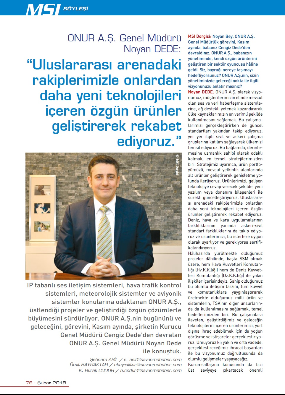 MSI Turkish Defence Review - February Interview with Our General Manager